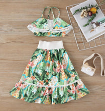 Load image into Gallery viewer, Girl's Skirt and Top Set - Floral Print - Babes & Boho