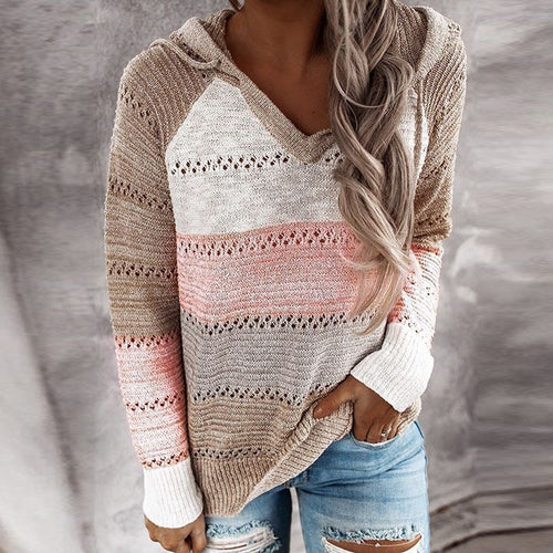 Long Sleeve Casual V-Neck Knitted Women's Sweater - Babes & Boho