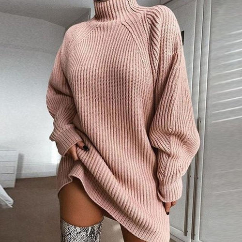 Long Sleeve Turtleneck Sweater Dress - Babes & Boho