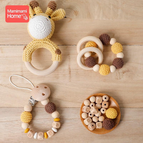 Giraffe Crocheted Wooden Teething Ring and Rattle - Babes & Boho