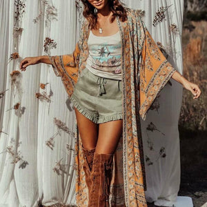 Long Printed Bohemian Open Cardigan - Babes & Boho