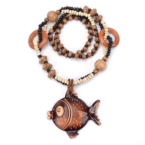 Hand Carved Wooden Fish Necklace - Babes & Boho