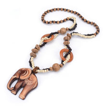 Load image into Gallery viewer, Handmade Wooden Elephant Necklace - Babes & Boho