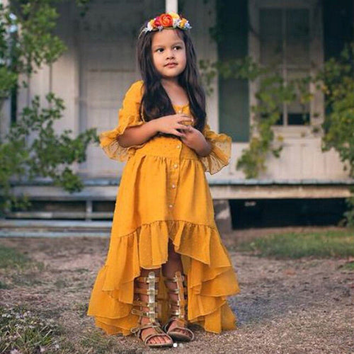 Ruffled Boho Princess Dress in Yellow - Babes & Boho