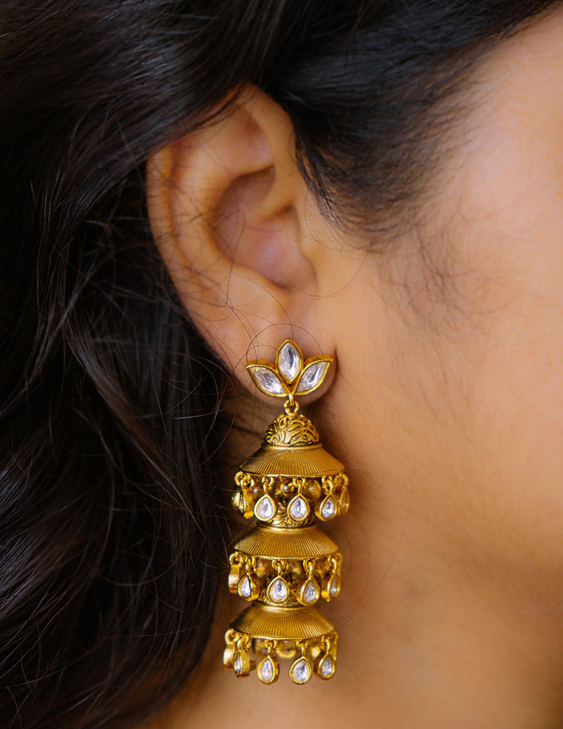 Kundan Step Jhumka Earrings