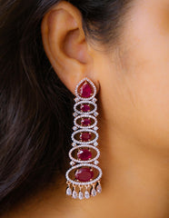 Ruby Oval AD Long Earrings