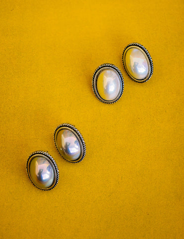 Silver Pearl Oval Studs
