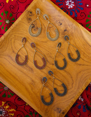 Tear Drop Stone Long Earrings