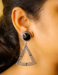 Grey Black Triangle Curve Earrings