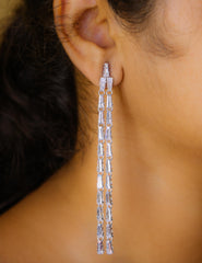 Trapeze Stone Long Earrings
