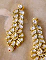 Kundan Tear Drop Leaf Earrings