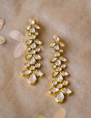 Kundan Long Leaf Earrings