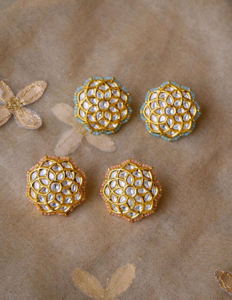 Big Kundan Intersection Studs