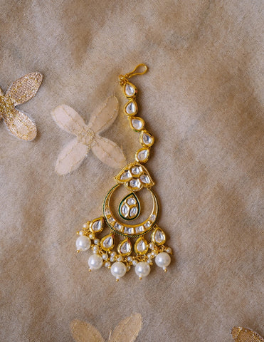 White Kundan Tear Drop Chaand Teeka