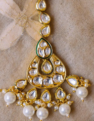 White Kundan Hexa Tear Drop Teeka