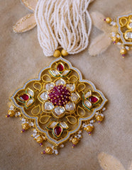 Ruby Kundan Pearls Pendant Set