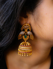 Peacock Matte Umbrella Jhumkas
