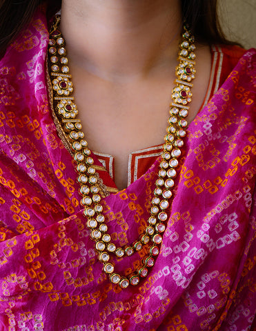 Kundan Flower Long Necklace