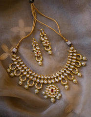 Flower Kundan Ruby Set