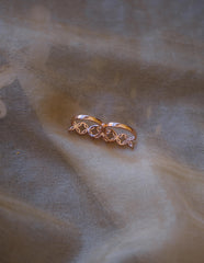 Rose Gold AD Two Finger Ring