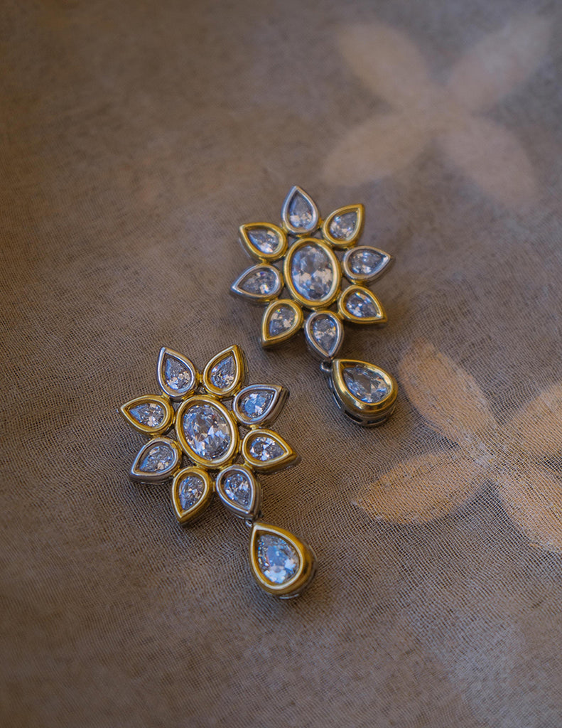 Victorian Tear Drop Flower Earrings