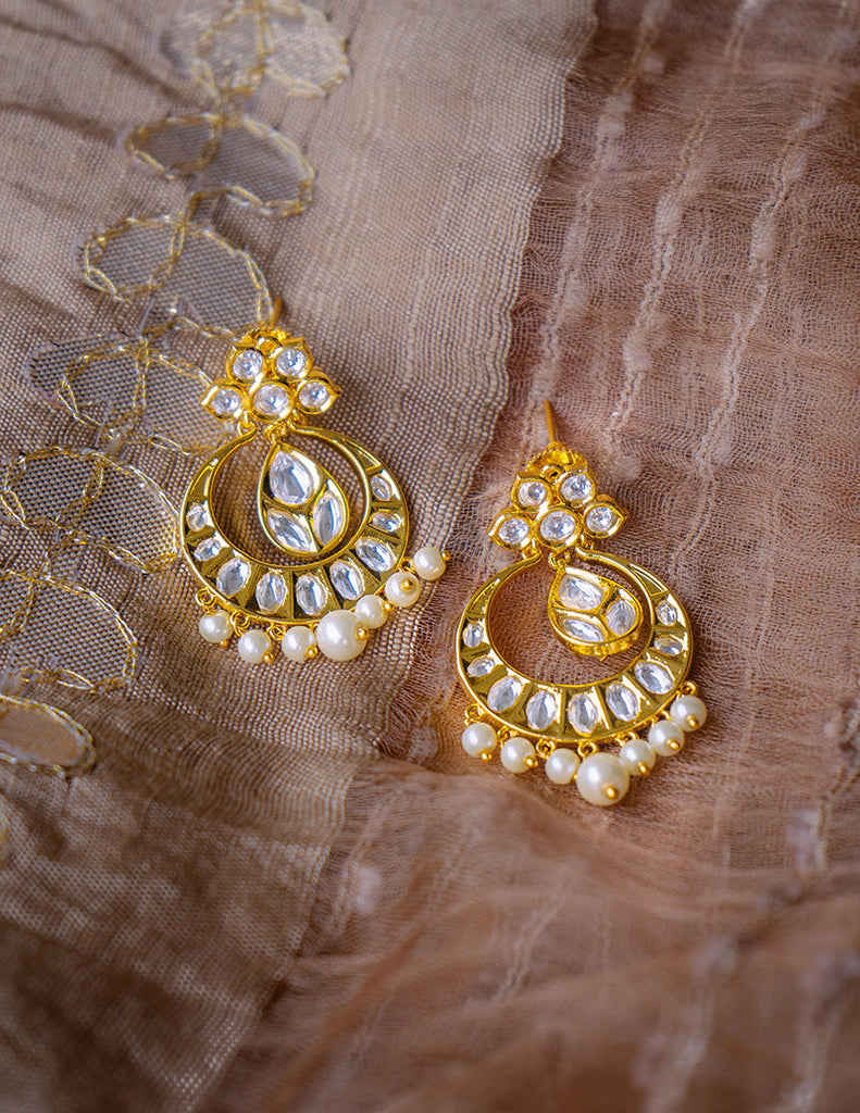 Lotus Small Kundan Chaand Earrings