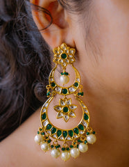 Flower Double Chaand Kundan Earrings (Multiple colors)