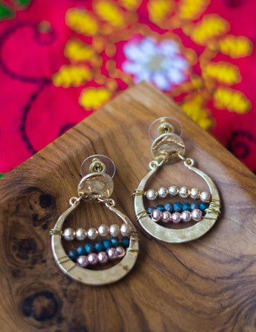 Rustic Beaten Bead Earrings
