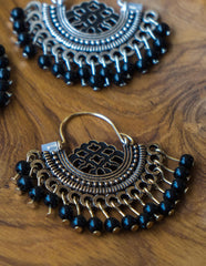 Black Bead Small Chaand Earrings