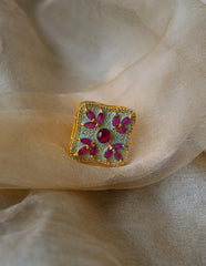 Ruby Green AD Enamel Ring