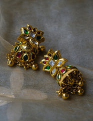 Ruby-Green Kundan Paisley Flower Necklace set