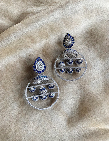 AD Blue Jhumka Chandelier Earrings