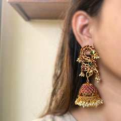Ruby Green Matte Peacock Grid Jhumkas