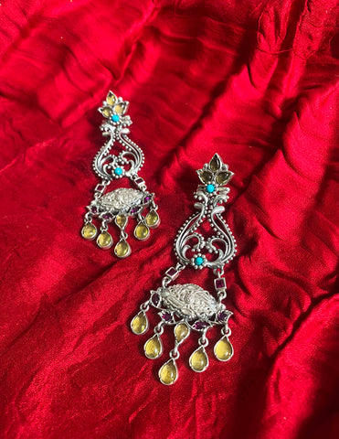 92.5 Silver Chandelier Yellow Drop Earrings