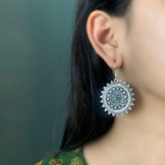 92.5 Silver Intricate Flower Drops