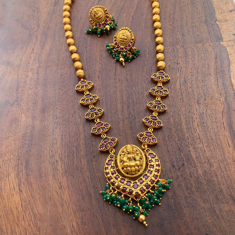 Matte Lakshmi Mid Length Maala with Earrings