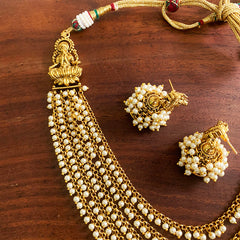 Lakshmi Pearls Layer Necklace with Jhumkas
