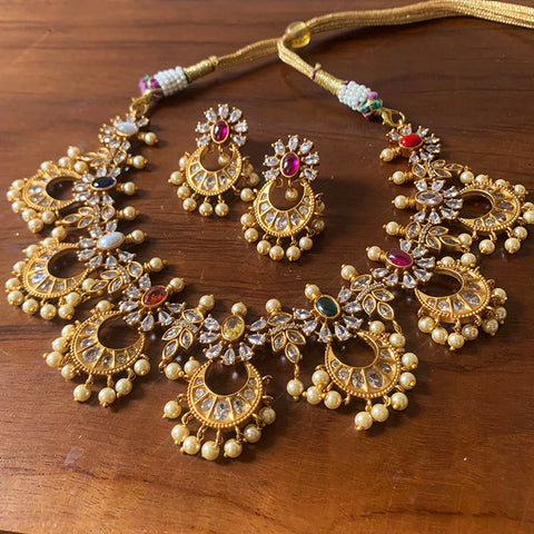 Matte Navratna Necklace with Earrings