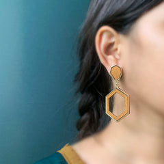 Wooden Hexa Earrings