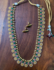 Long Coin Lakshmi Matte AD Necklace