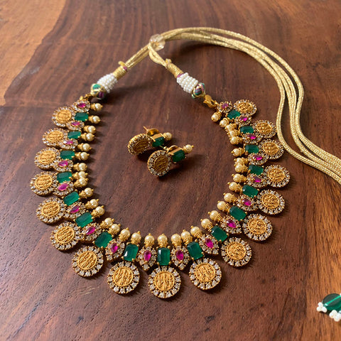 Coin Matte Lakshmi Short Necklace