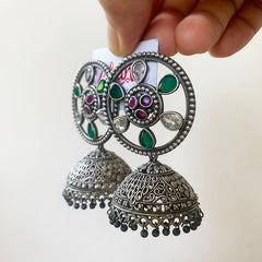 Oxidised Flower Wheel Jhumkas