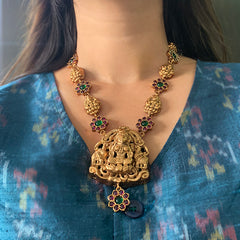 Lakshmi Flower Pendant Necklace