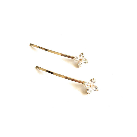 Set of 2 Flower Crystal Bobby Pins
