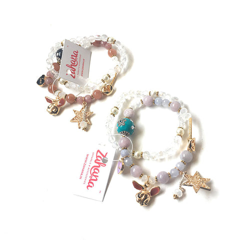 Set of 2 Heart Charm Bracelets