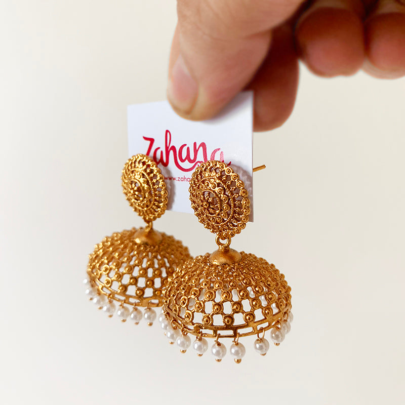 Matte Gold Dots Wide Jhumka