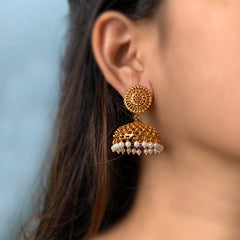 Gold Dots Wide Jhumka