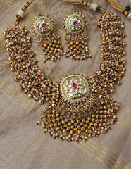 Kundan Cluster Pearls Necklace Set