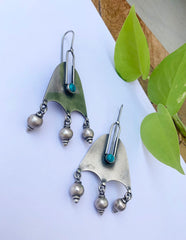 92.5 Silver Turquoise Bell Hook Earrings