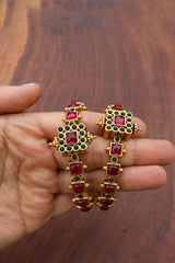 Set of 2 Matte Ruby Green Square Bangles